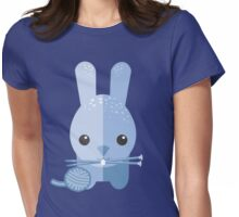 Cute bunny rabbit ball of yarn knitting needles Womens Fitted T-Shirt