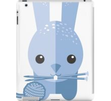 Cute bunny rabbit ball of yarn knitting needles iPad Case/Skin
