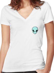blue/green alien Women's Fitted V-Neck T-Shirt