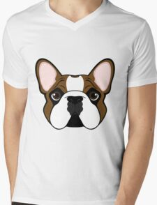 Frenchie - Fawn Pied Mens V-Neck T-Shirt