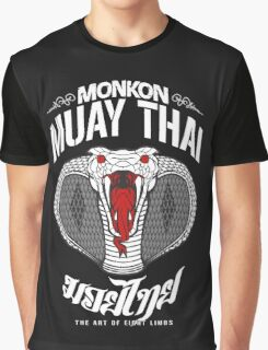 monkon muay thai cobra thailand martial art sport logo dark shirt Graphic T-Shirt