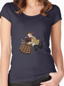 Cute Doctor And Dalek Women's Fitted Scoop T-Shirt