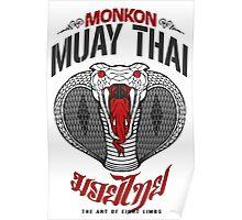 monkon muay thai cobra thailand martial art sport logo light or white shirt Poster
