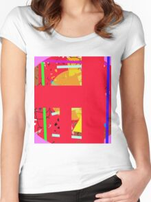 Red abstraction Women's Fitted Scoop T-Shirt