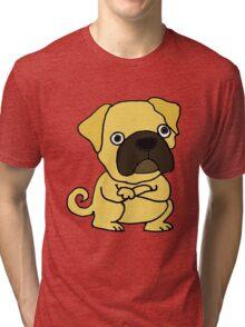 Cool Funny Grumpy Pug Cartoon Tri-blend T-Shirt