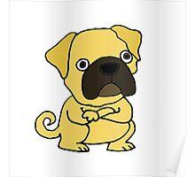 Cool Funny Grumpy Pug Cartoon Poster