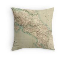 Vintage Map of Costa Rica (1903) Throw Pillow