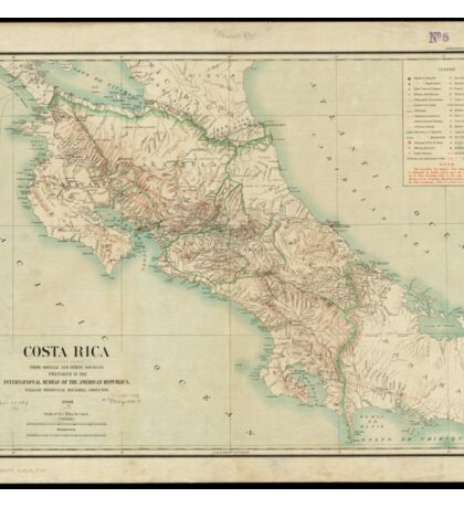 Vintage Map of Costa Rica (1903) Sticker
