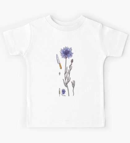 blue cornflower and knife Kids Tee
