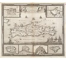 Vintage Map of Crete Greece (1680) Photographic Print