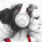 Beautiful Girl in Headphones Portrait by OlechkaDesign