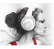 Beautiful Girl in Headphones Portrait Poster