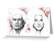 Debra and Dexter Morgan Portrait, Art Greeting Card