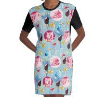 Kitten summer pattern Graphic T-Shirt Dress