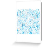 Floral Drawing in Cool Blue Watercolor and White Greeting Card
