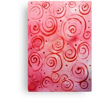 Blush Wine Red Pink Swirls Happy Fun Design  Canvas Print