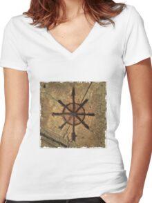 sidewalk compass Women's Fitted V-Neck T-Shirt