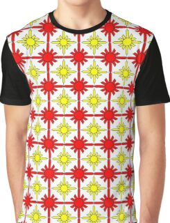 Yellow and Red Ordered Galaxy Graphic T-Shirt