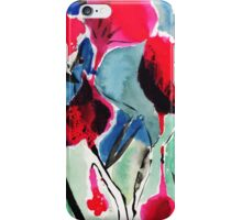 Red flowers ink and watercolor painting iPhone Case/Skin