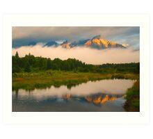 Teton Mountains from Schwabacher Landing Art Print