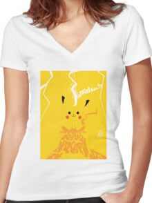 Vintage Pikachu Women's Fitted V-Neck T-Shirt