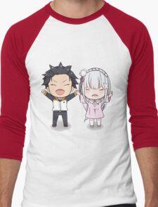 RE:Zero Subaru and Emilia Chibi Men's Baseball ¾ T-Shirt