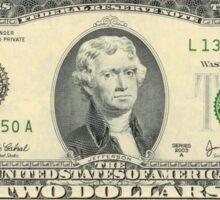 President Jefferson: 2 Dollar Bill Sticker