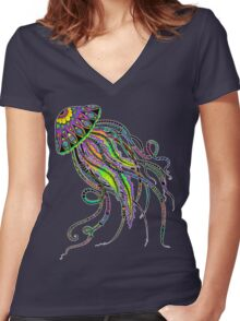 Electric Jellyfish Women's Fitted V-Neck T-Shirt