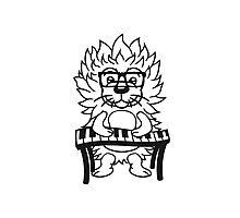 nerd musik klavier keyboard tanzen band konzert disko club tasten party haariger kleiner süßer niedlicher igel comic cartoon  Photographic Print