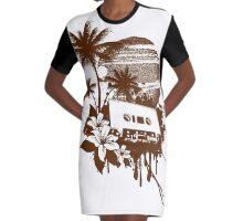 Summer Music Graphic T-Shirt Dress