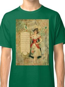 Vintage collage,rustic,grunge,beautiful girl,parchment, Classic T-Shirt
