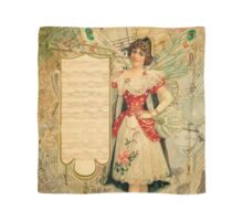 Vintage collage,rustic,grunge,beautiful girl,parchment, Scarf