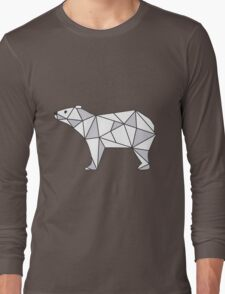 Pattern with small Bear. Black and white freehand drawing Long Sleeve T-Shirt