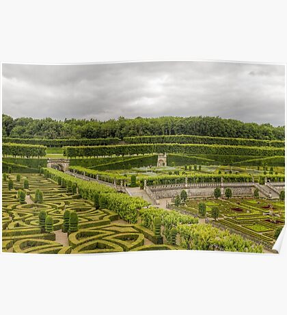 Gardens at the Chateau de Villandry, Loire Valley, France Poster