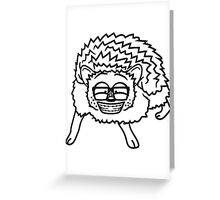 nerd geek hornbrille pickel freak spange schlau intelligent grinsen lustig comic cartoon süßer kleiner niedlicher igel  Greeting Card