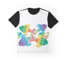 Colorful Fish on a White Background Graphic T-Shirt
