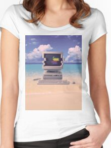 Vaporwave Macintosh - No Text Women's Fitted Scoop T-Shirt