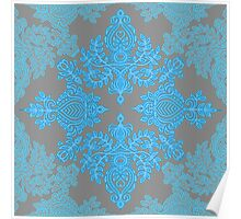 Turquoise Tangle - sky blue, aqua & grey pattern Poster