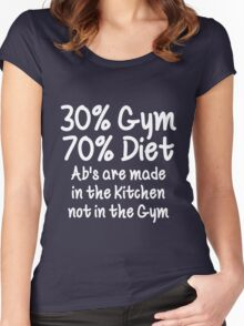 30 Percent Gym 70 Percent Diet White Print Women's Fitted Scoop T-Shirt