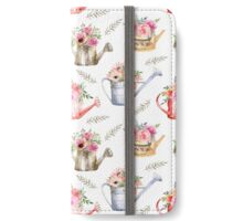 Garden watering cans and flowers. Vintage pattern iPhone Wallet/Case/Skin