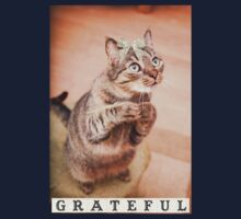 Cute cat with bow,grateful,typography,funny,happy, One Piece - Short Sleeve