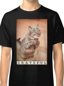 Cute cat with bow,grateful,typography,funny,happy, Classic T-Shirt