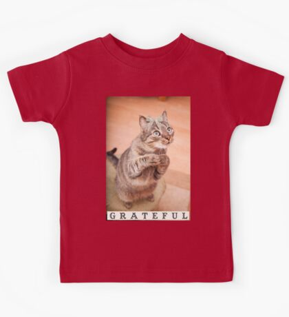 Cute cat with bow,grateful,typography,funny,happy, Kids Tee
