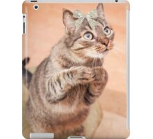 Cute cat with bow,grateful,typography,funny,happy, iPad Case/Skin