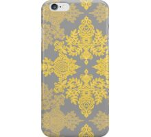 Golden Folk - doodle pattern in yellow & grey iPhone Case/Skin