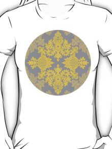 Golden Folk - doodle pattern in yellow & grey T-Shirt