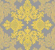 Golden Folk - doodle pattern in yellow & grey by micklyn