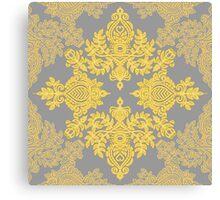 Golden Folk - doodle pattern in yellow & grey Canvas Print
