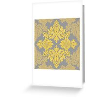 Golden Folk - doodle pattern in yellow & grey Greeting Card