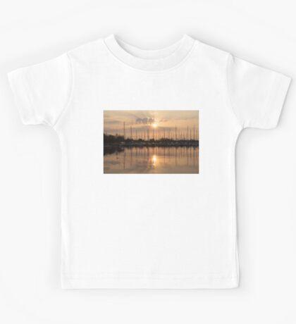 Of Yachts and Cormorants - A Golden Marina Morning Kids Tee